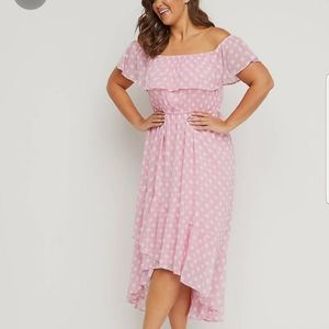 Lane Bryant Size 26/28 Pink Dress with Polka Dots